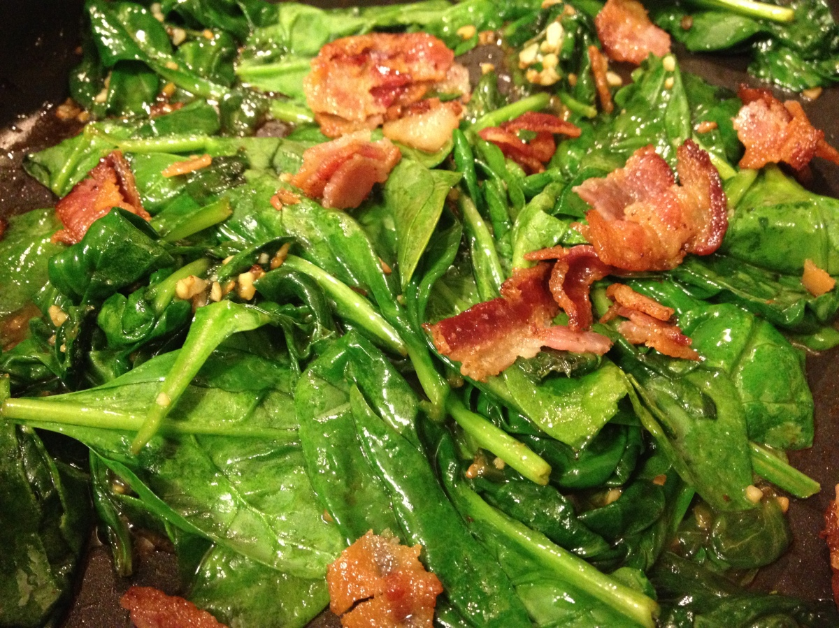 Bacon Garlic Sautéed Spinach