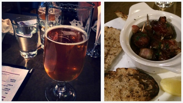 Dinner at West Flanders Brewing Company - Boulder, CO Left: West Flanders Hoffmeister Pilsner | Right: Bacon Wrapped Goat Cheese Stuffed Dates. Amazeballs.