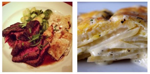 Left: Hanger Steak & Celeriac au Gratin from The Kitchen - Denver, CO | Right: Celeriac au Gratin from MY kitchen!