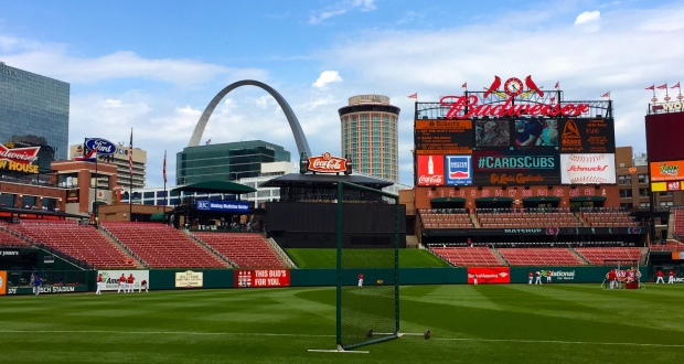 Here's a picture of Busch Stadium... because what's more American than a midwestern landmark in the background of a baseball stadium named for one of the country's largest brewers?